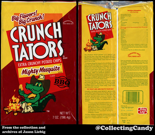 Frito Lay - Crunch Tators Mighty Mesquite - 7oz snack chip package - 1989