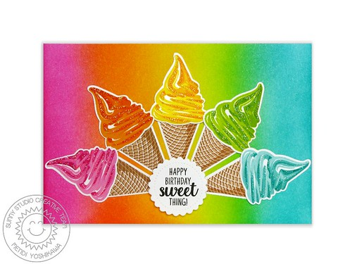 Sunny Studio Two Scoops Rainbow Sherbet Card