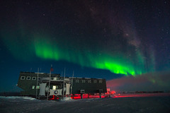 South Pole Station under Aurora Light