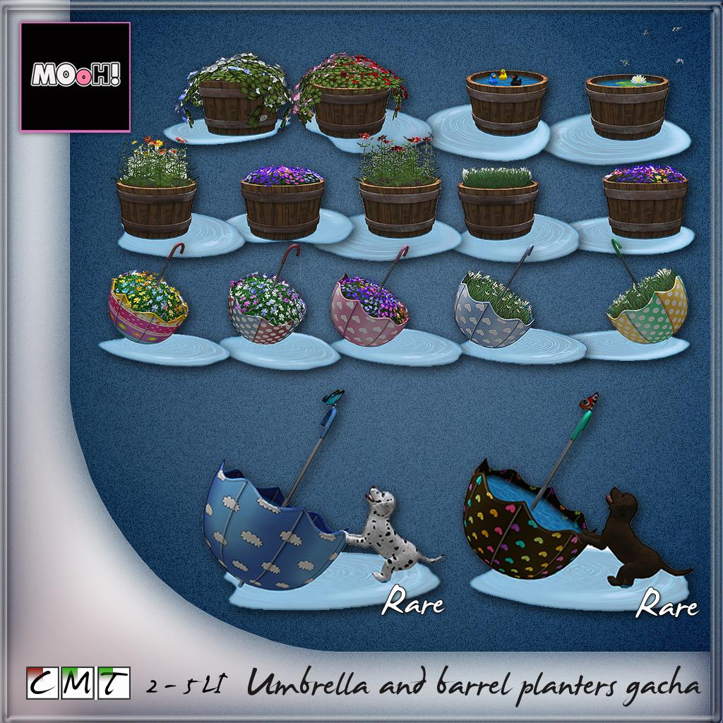 Umbrella and barrel planters gacha - SecondLifeHub.com