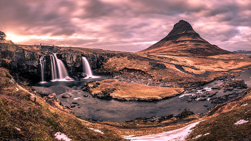 iceland landscape sunset travel nature water kirkjufell sky sun river mountain waterfall clouds is onsale portfolio