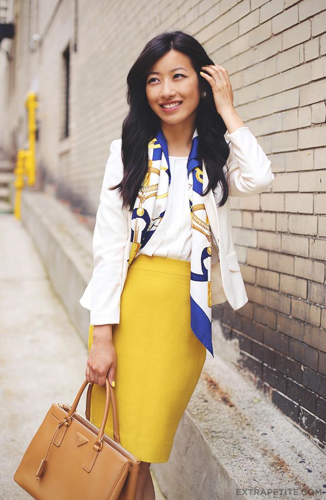 mustard skirt hermes scarf1