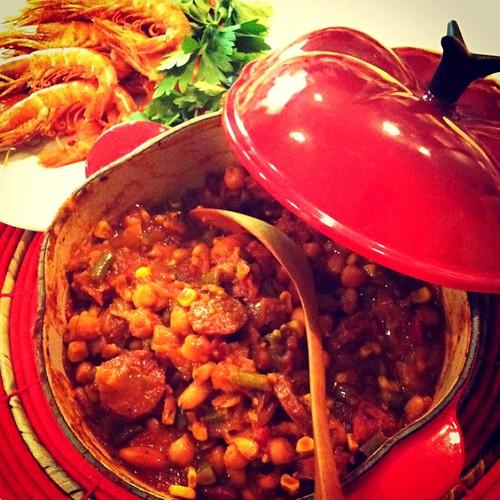 Chili Beans......Grilled Prawns