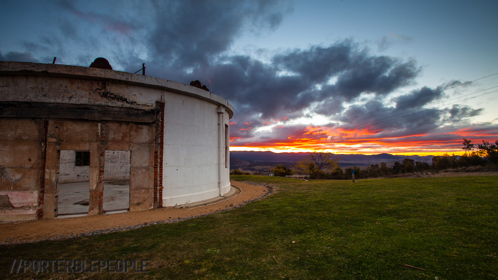 Sunset over the Mt Stromlo Observatory, with the Yale-Columbia in the foreground.