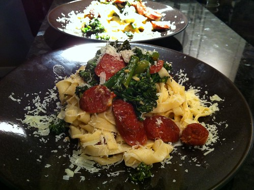 Tagliatelle wth bison sausage and broccoli rabe