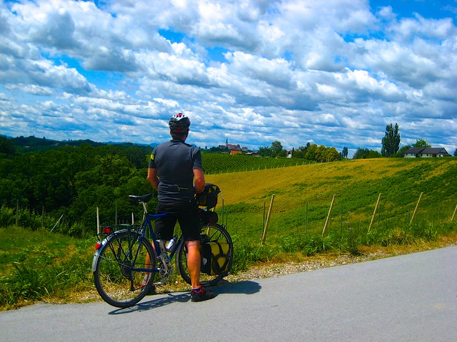 Stop to look at Svetinje; Bicycle travel in Jeruzalem Slovenia; two wheel travel