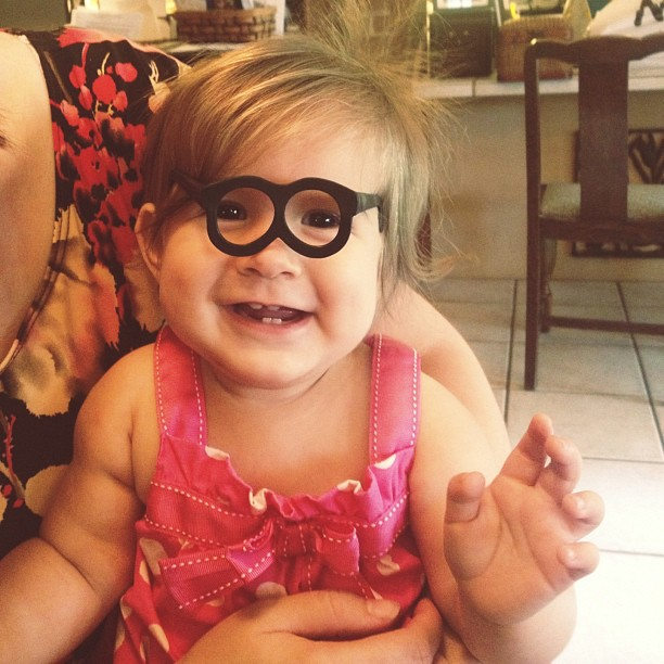 Life of the party. She found Mr. Potato Head's glasses.