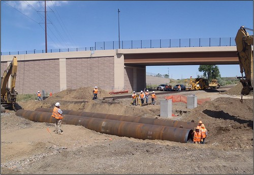 Photo of construction of drainage line across BNSF Railway track