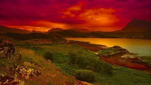 sunset mountains landscape evening scotland highlands sutherland westcoast assynt kylsetrome