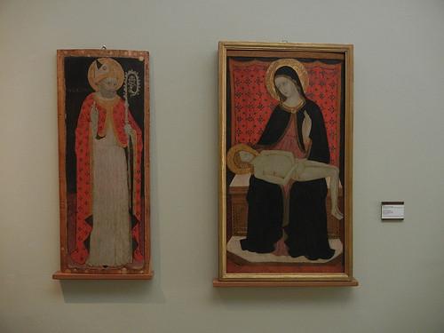 DSCN3304 _ Sant'Ubaldo Vescovo (l), Pietà (r), Maestro di San Verecondo, 1415-30