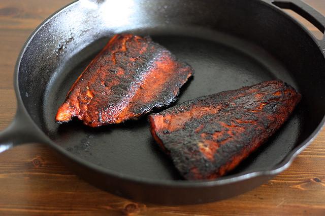 blackened salmon + mango tacos