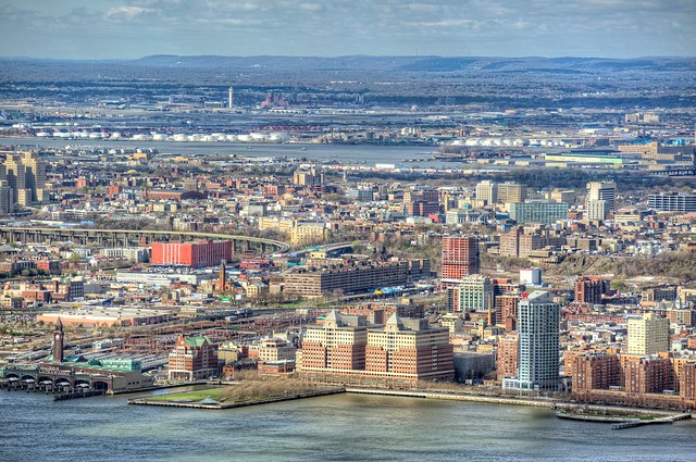 A close up view of Hoboken, New Jersey from the top of the Empire Stat Building in New York City HDR