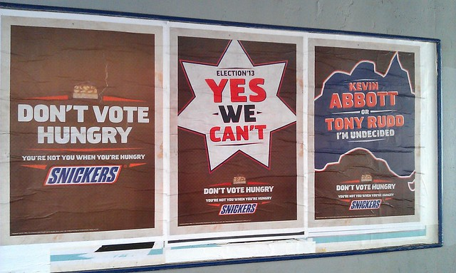 """Don't vote hungry"" - sorry Snickers, a sausage is my preferred voting food."