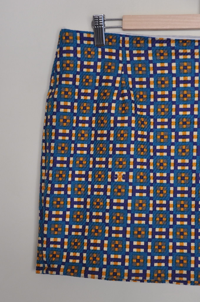 geometric print mini skirt jenny burdastyle burda purple blue yellow the fabric store