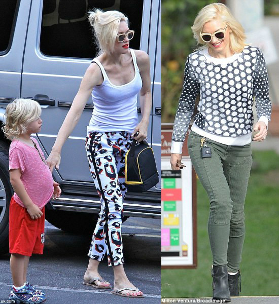 polka dot sweater, green pants, bold print jeans, white vest, slippers, ankle boots, Gwen stefani school run look