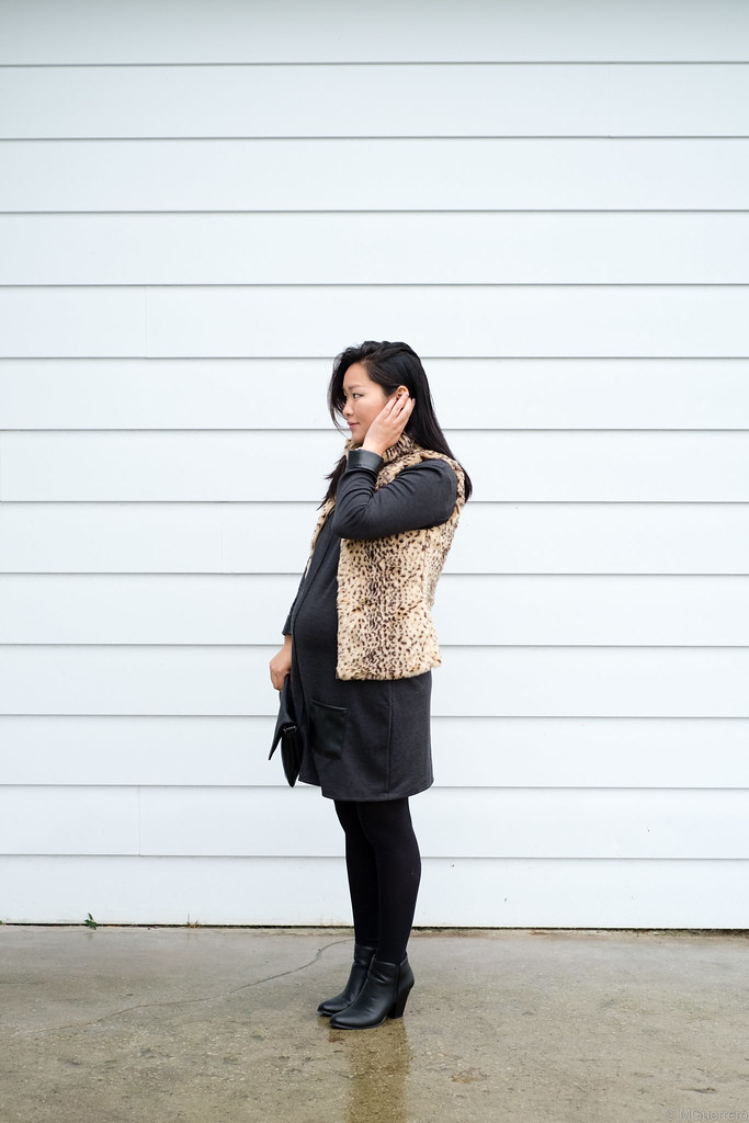 Zara leopard vest, Winners faux leather trim shift dress, leather trim dress, ankle boots