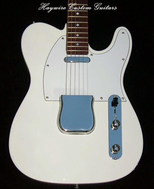 Haywire Custom Guitars White Tele All Rosewood Neck 2 Txt