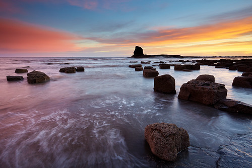 england seascape water sunrise coast rocks yorkshire northeast saltwickbay 17mm40mml