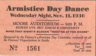 Armistice Day dance ticket, 1936
