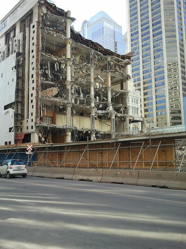 The ruins of a building being demolished.
