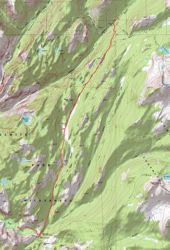 Topographic Map of our seventh day's hike - PCT south from Virginia Canyon to Glen Aulin via Cold Canyon