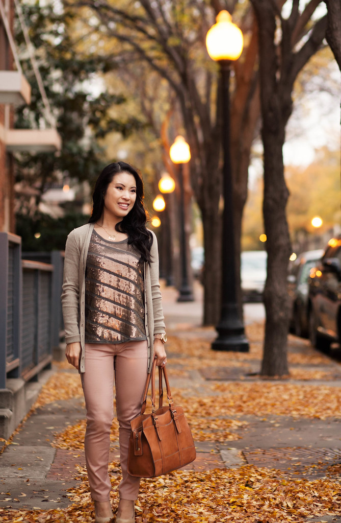 cute & little blog | daytime sequins | sequin top, pink pants outfit