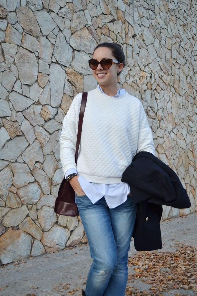Jersey acolchado blanco