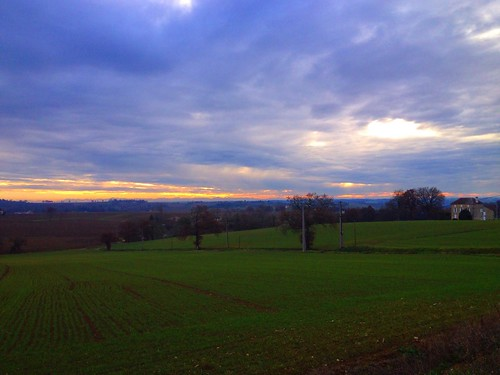 French fields in Winter - View towards the Pyrenees