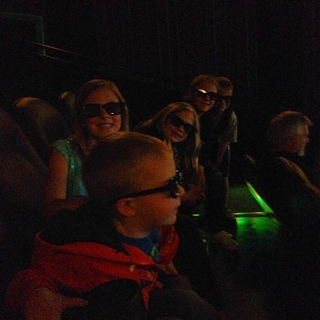 Trent is FINALLY getting to see frozen. Kids have seen it JUST a few times!!  #3D
