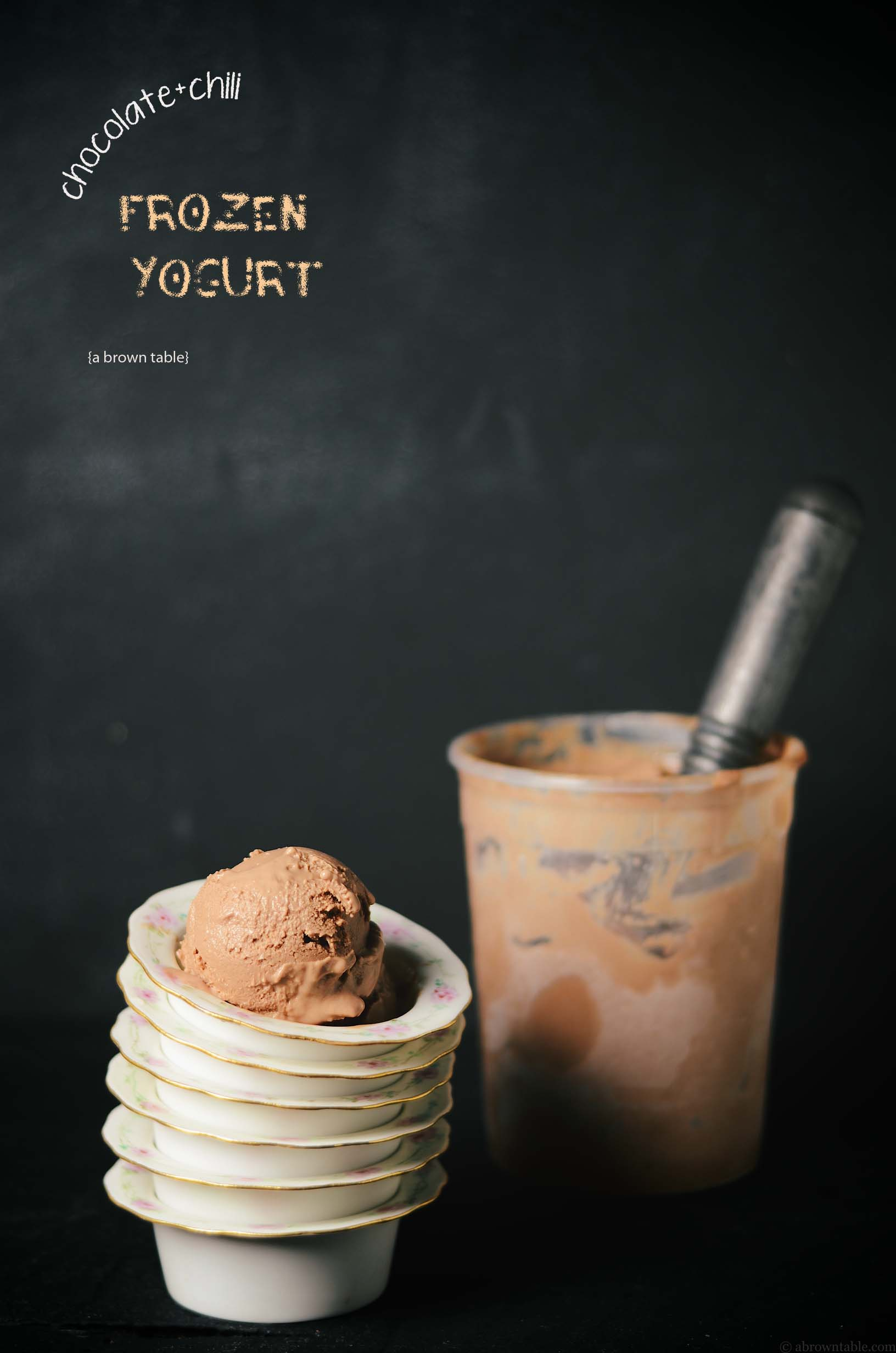 serving frozen chocolate chili yogurt
