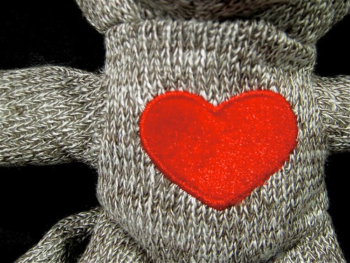 sock monkey's got heart