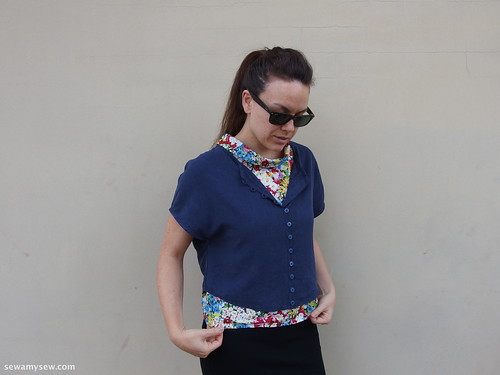 Tessuti's Judy Blouse in Navy Cotton