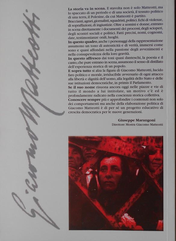 Matteotti, ... e mi moro e so inocente, Gianni Sparapan - retro