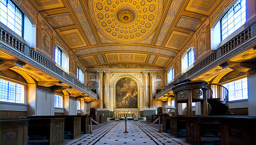 The Old Chapel, Queen Anne's Court, the Old Royal Naval College, Greenwich London