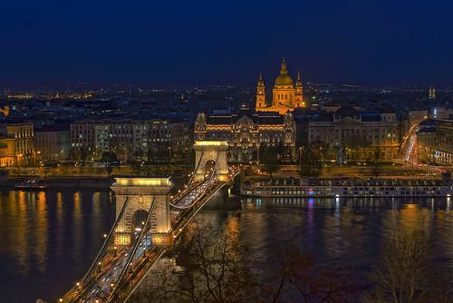 night budapest clear ungarn danube castlehill kettenbrücke donau chainbridge szentistvanbazilika burgberg szechenyilanchid ststephansbasilika