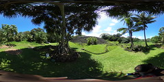 The Ulupo Heiau and Lo'i (Taro Field) from under the puhala Tree at Kailua, Oahu, Hawaii - a 360 degree Equirectangular VR