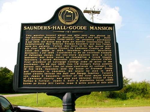 Saunders ~Hall~ Goode Mansion Historic Marker