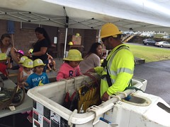 Hawaii Electric Light visits Kamehameha Schools Hilo Preschool - April 12, 2017: Taking a peek into the bucket truck
