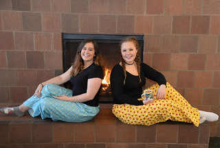 Thu, 02/02/2017 - 14:41 - Two GCC students proudly wearing new pajama bottoms.