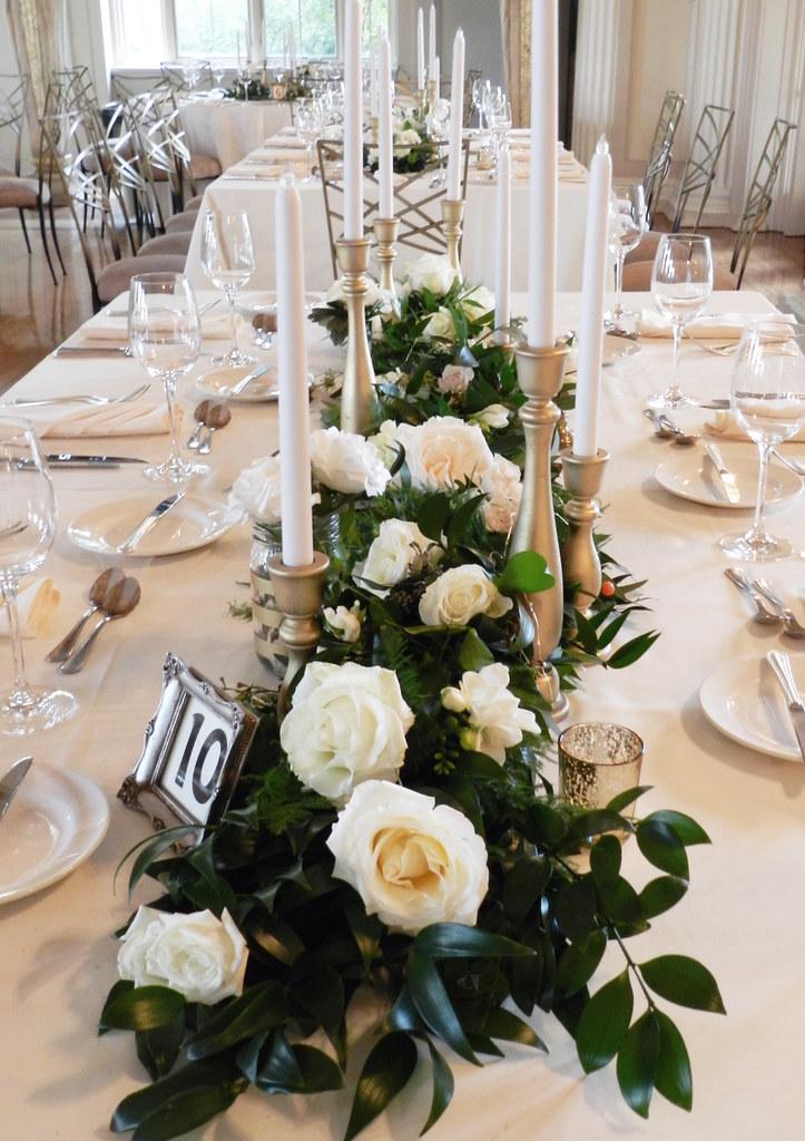 Foliage Garland Centerpieces Banquet Tables Medinah Gold