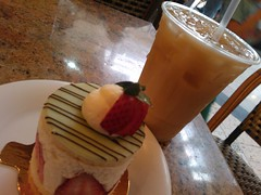 If you break your diet you might as well do it beautifully with something light and nice, strawberry cake, iced tea, Westfield Valley Fair Mall, Santa Clara, California, USA