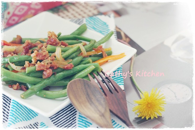 西式培根炒四季豆  Stir green bean with bacon 5