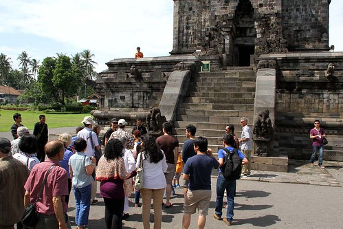 tourists at Mendut Temple in Indonesia