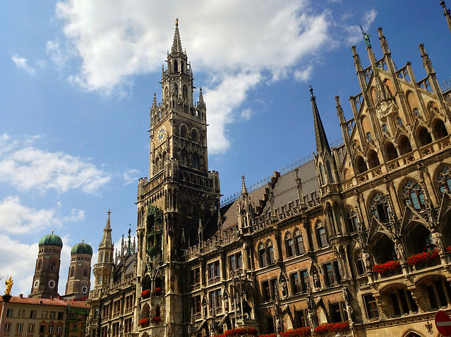 The gothic Town Hall on Marienplatz, Munich