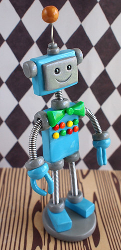 Custom Robot Birthday Cake Topper: Blue and Silver button filled chest by HerArtSheLoves