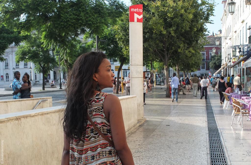 Lisbon, Street Scene in Rossio