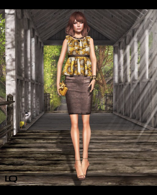 C88 July -The Secret Store - Elsa Ruffle Shirt - Sunflower & Milk Motion Clutch and JD - Lux Soes