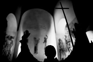 Image of Birka. blackandwhite bw church statue cross kyrka ansgar kors birka björkö statyer ansgarskapellet