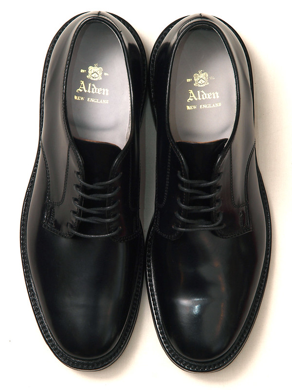Alden / 2937F Shell Cordovan Plain Toe Black Unlined Blucher
