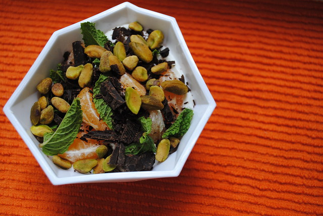 yogurt with pistachios, orange, mint and dark chocolate